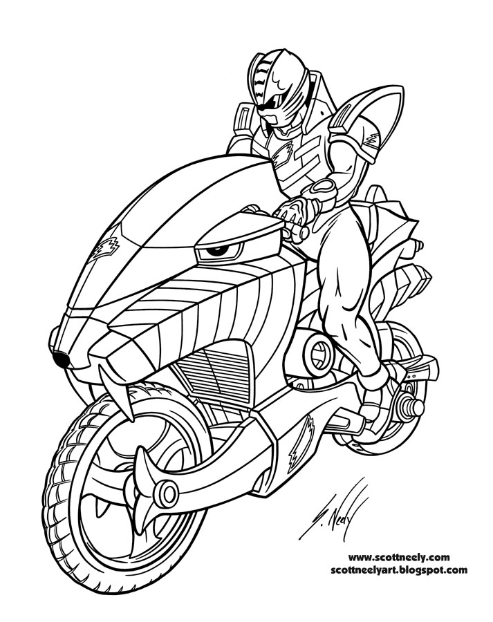 713x900 The Cool Motorcycle Of Power Rangers Jungle Fury Coloring Pages
