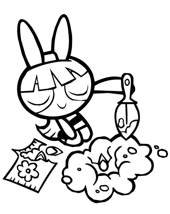 670x846 Powerpuff Girls Blossom Planting Flowers Coloring Pages