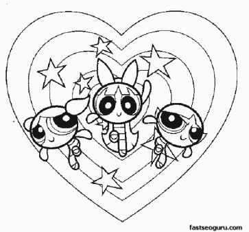 363x338 Printable Powerpuff Girls In Action Bubbles Blossom Buttercup
