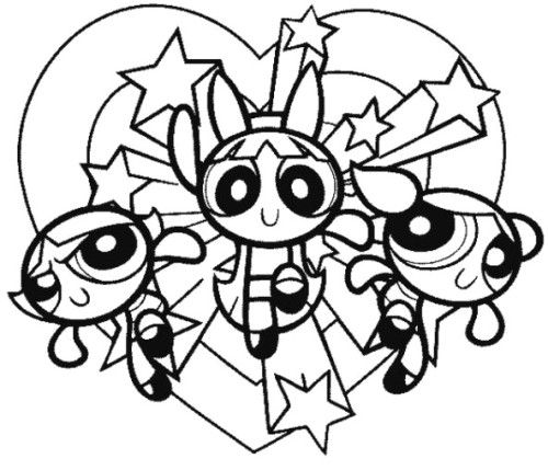 500x429 The Powerpuff Girls Are Hugging Coloring Pages