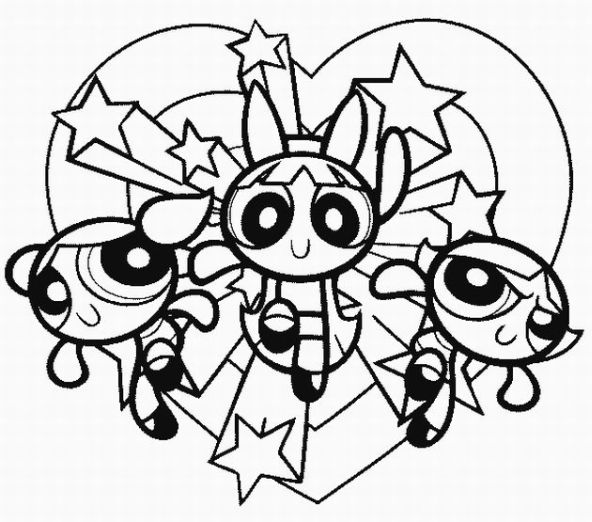 592x522 Powerpuff Girls Coloring Pages