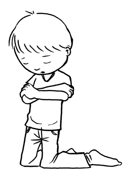 432x600 Boy And Girl Praying Coloring Page