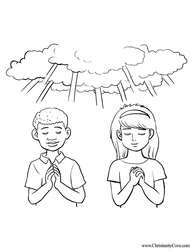 793x1024 Children Praying Coloring Page Home Within Child Free To Print