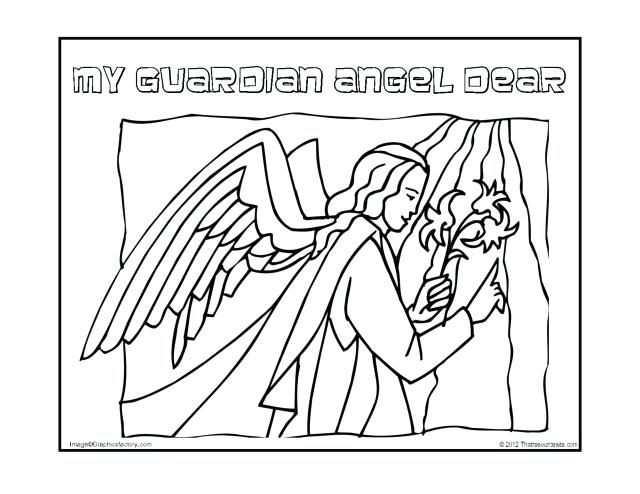 640x494 Free Angel Coloring Pages Guardian Angel Prayers Coloring Page