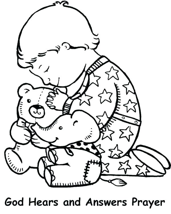 600x748 The Lords Prayer Coloring Pages Children Praying Coloring Page