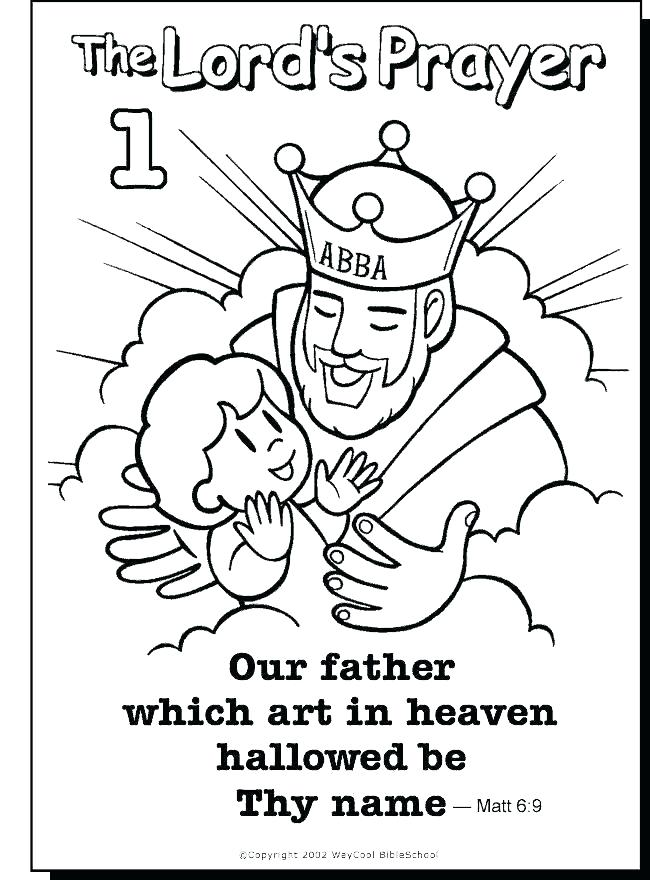 650x880 Children Praying Coloring Page Our Father Prayer For Kids Also