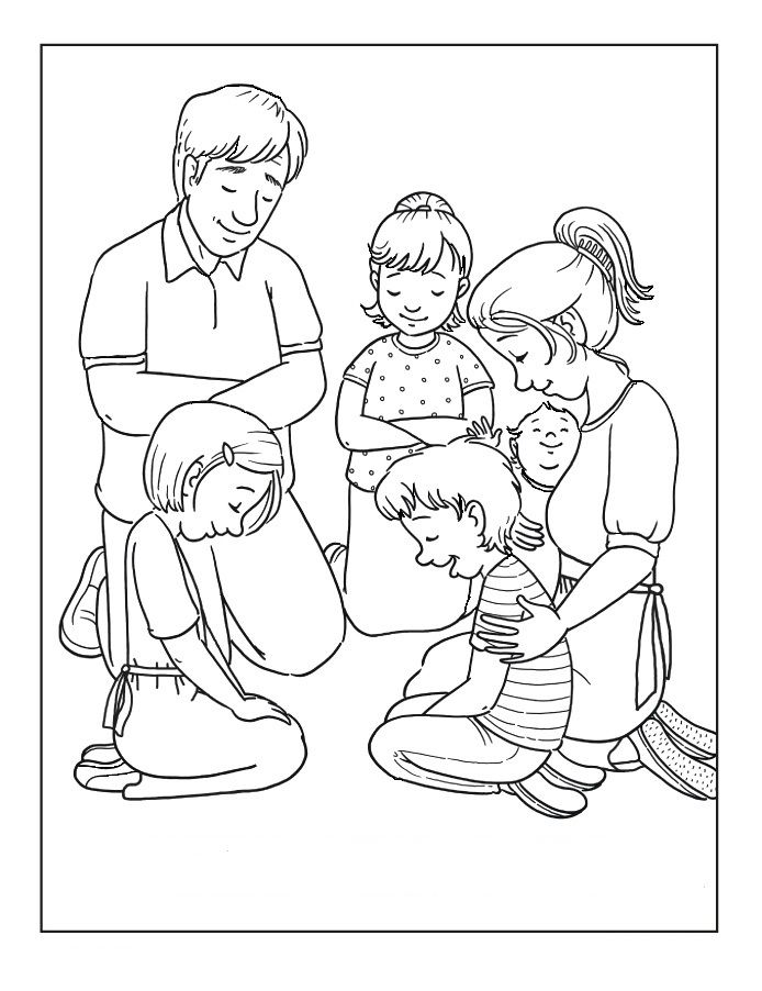 694x902 Families Is Praying Coloring Pages Graphic Design