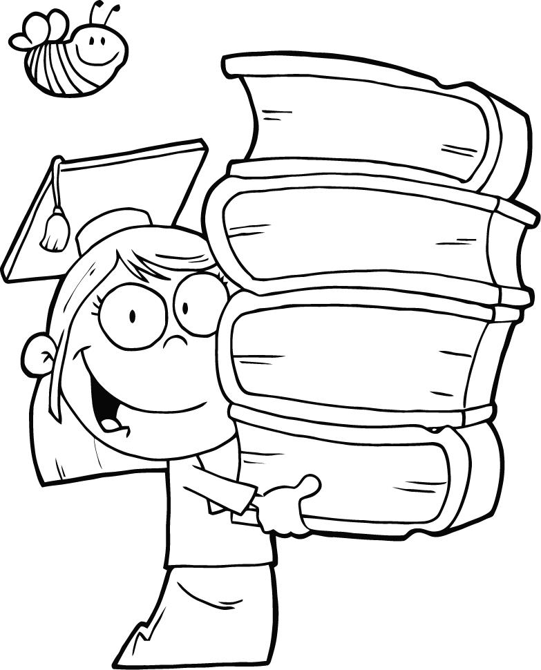783x970 Coloring Pages Of Graduation Girl Holding Books