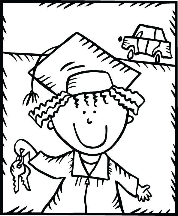 593x720 Graduation Coloring Pages