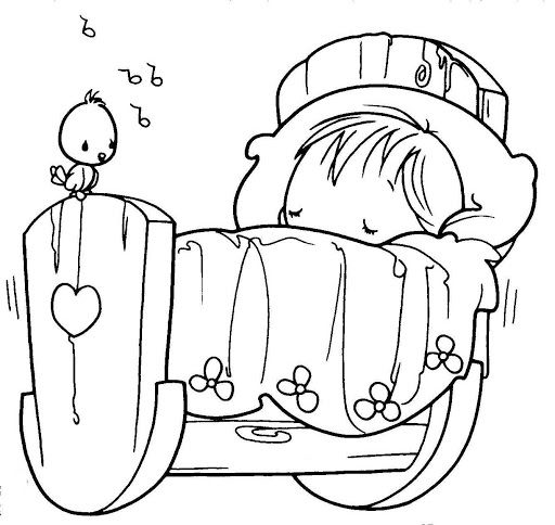 512x484 Sleeping Baby, Precious Moments, Coloring Pages Digital Stamps