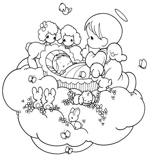 481x512 Guardian Angel Taking Care A Baby Coloring Pages Coloring Pages