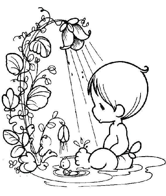 568x674 Baby Shower Coloring Pages Baby Girl With Umbrella Coloring Page