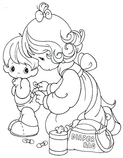 401x512 Baby Girl Precious Moments Coloring Pages Cute Child Mome
