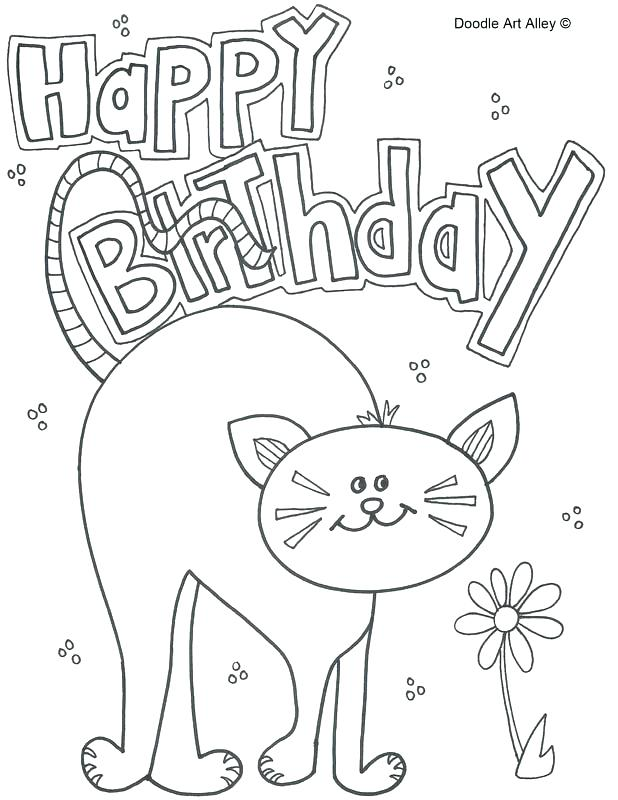 618x800 Birthday Coloring Pages Happy Birthday Cat Birthday Coloring Pages