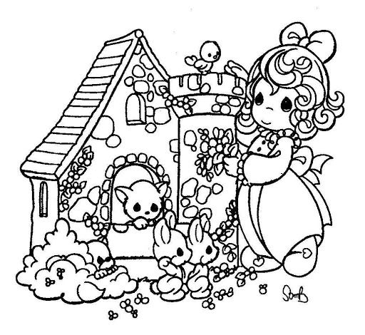 512x470 Animal's Little House Precious Moments Coloring Pages Precious