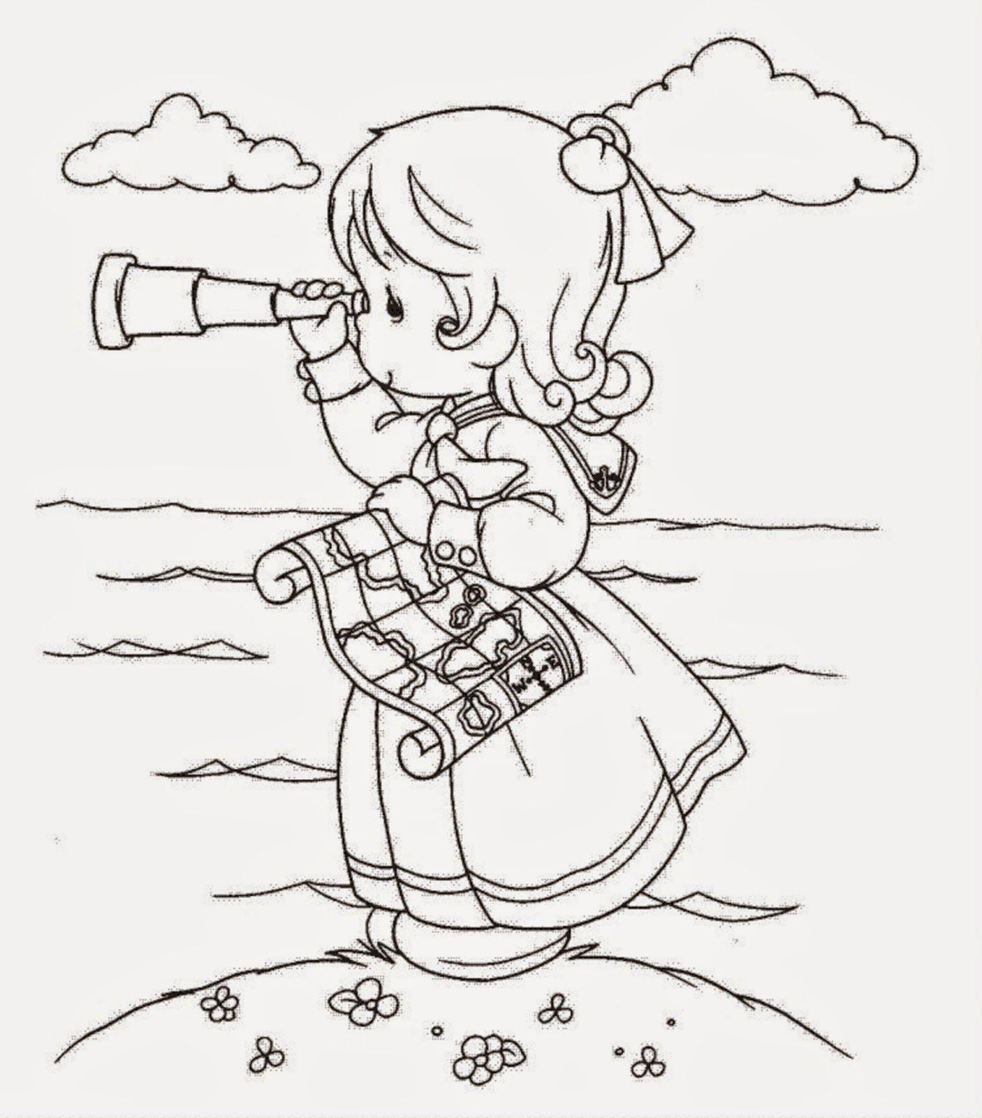 Precious Moments Coloring Pages Girl At Getdrawings Com