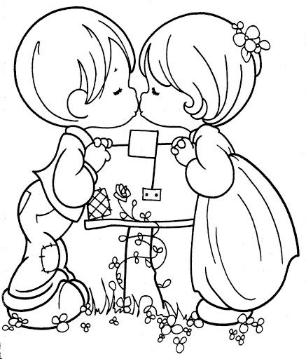 437x512 Kissing Couple Precious Moments Free Printable Page Colorin