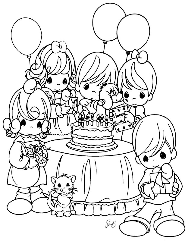624x800 Precious Moments Birthday Celebration Coloring Pages And Sheets