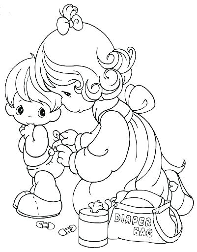 401x512 Little Girl Coloring Pages Pictures Precious Moments Baby Coloring