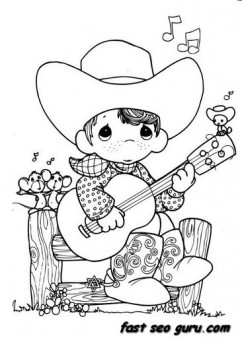 242x338 Precious Moments Boy Playing Guitar Cowboy Coloring Pages