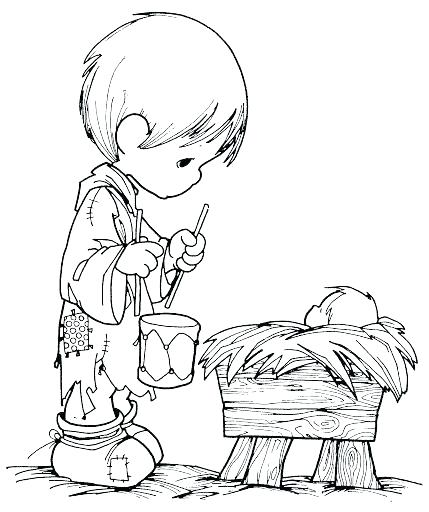 429x512 Precious Moments Christmas Nativity Coloring Pages Boy With A Drum