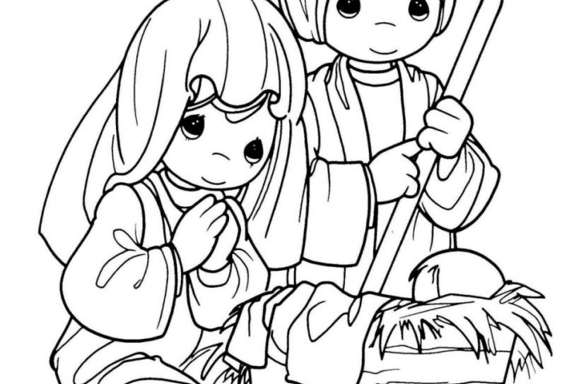 812x544 Last Minute Precious Moments Nativity Scene Coloring Pages