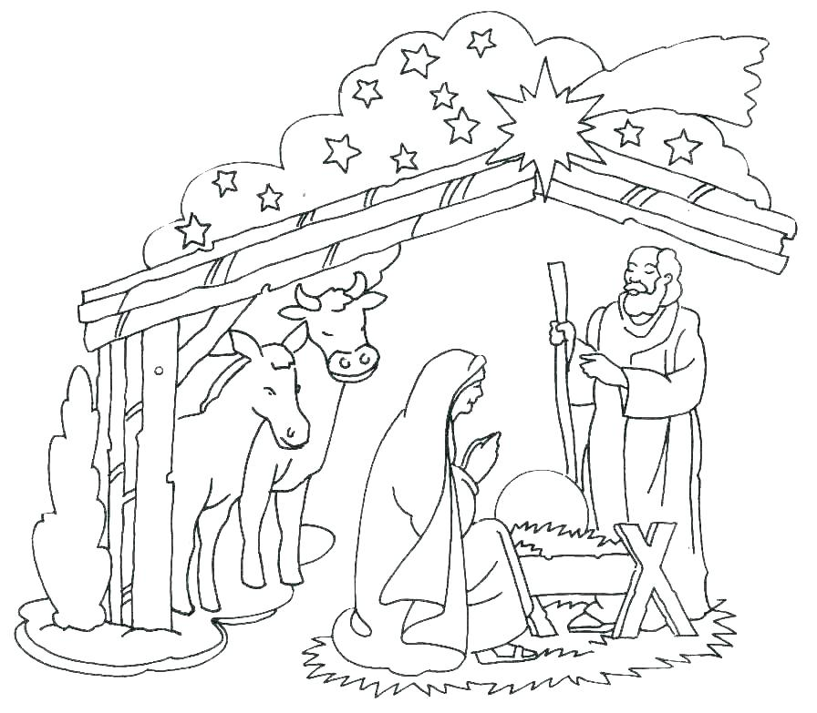 896x783 Manger Scene Coloring Pages Nativity Scene Coloring Sheets