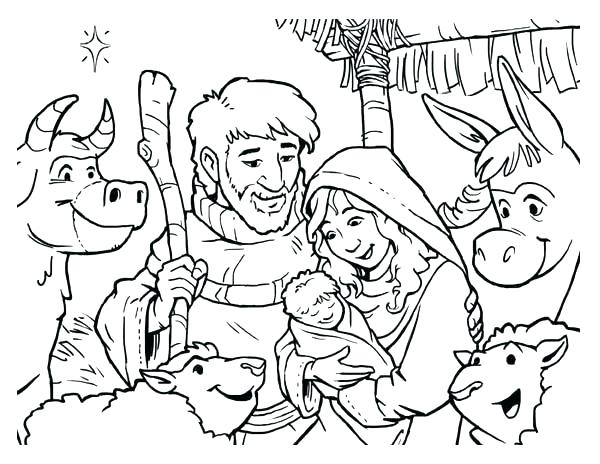 600x464 Nativity Coloring Page Nativity In Cartoon Depiction Coloring Page