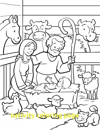 386x500 Nativity Coloring Page With Manger Scene Coloring Pages