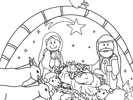 440x330 Printable Coloring Also Preschool Nativity Scene Coloring Page
