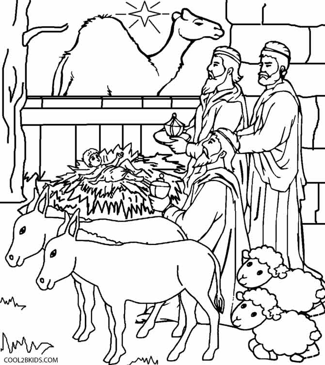 670x754 Printable Nativity Scene Coloring Pages For Kids