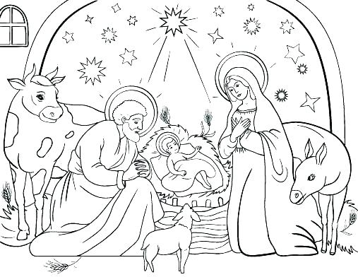 507x392 Coloring Sheet Nativity Scene Nativity Scene Coloring Pages