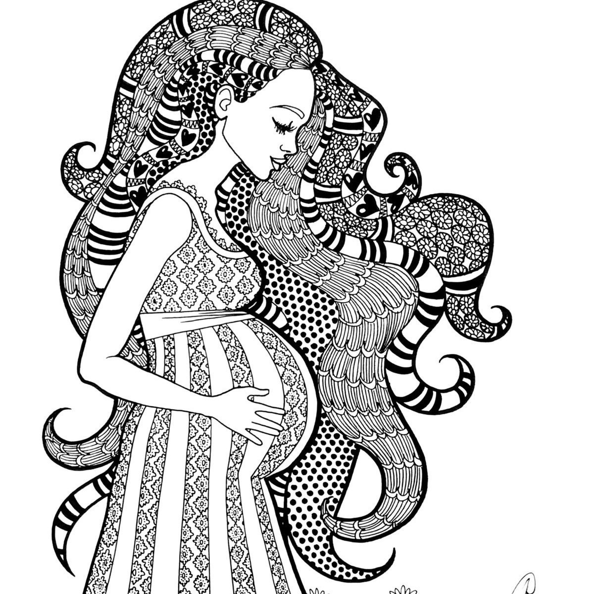 1200x1199 Coloring Pages Of Pregnant Woman Print