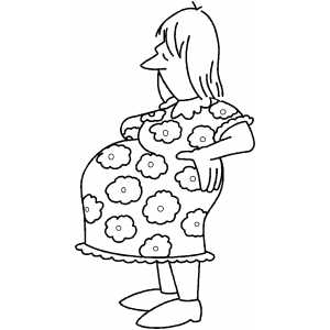 300x300 Standing Pregnant Woman Coloring Page