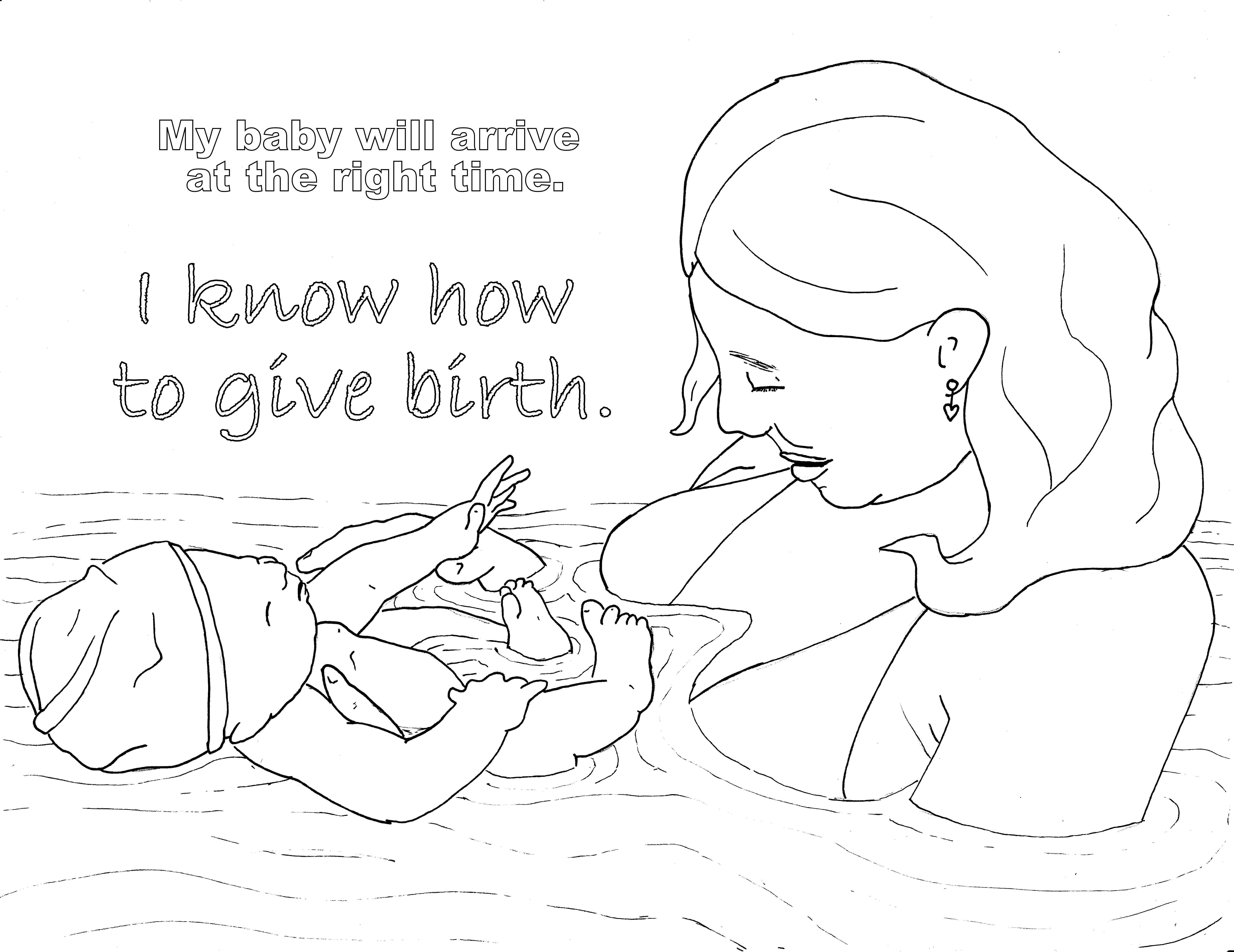 6594x5086 Birth Affirmation Coloring Page Free Printable! Water Birth