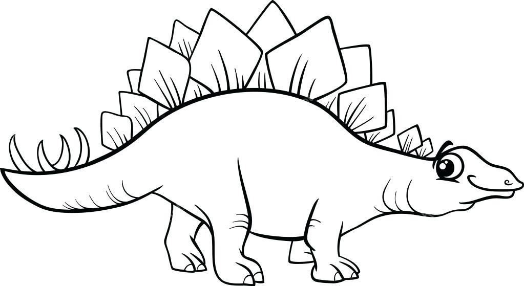 1023x559 Stegosaurus Coloring Page Black And White Cartoon Illustration