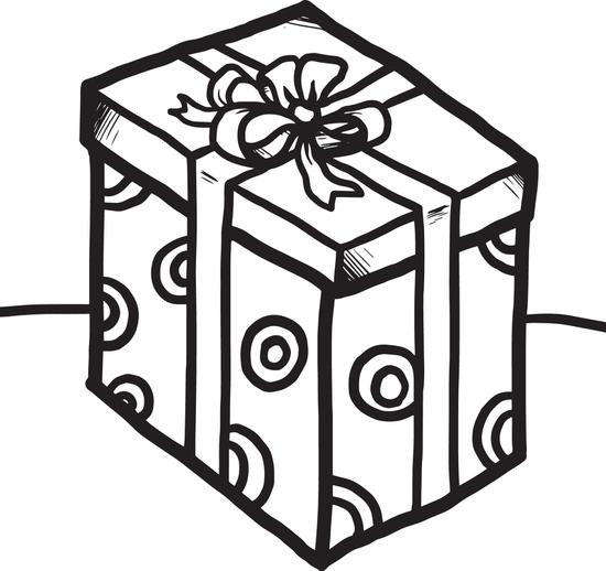 550x518 Gift Box Coloring Page