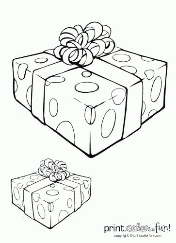 363x500 Gift Box With Ribbon Coloring Page