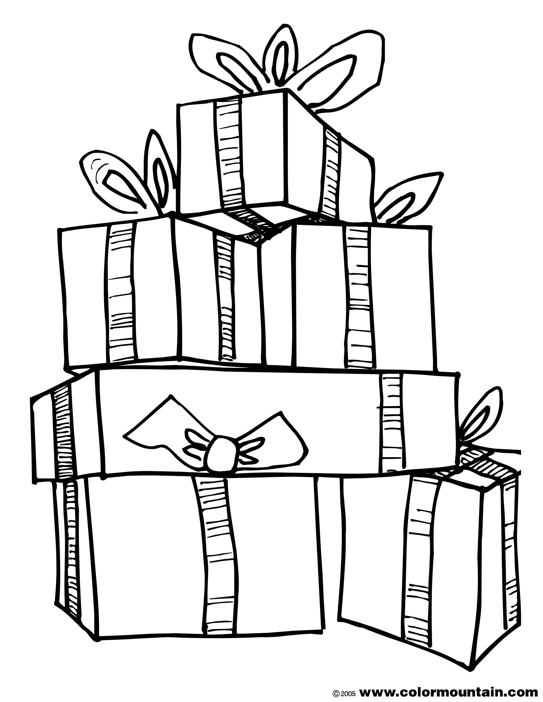 1800x2329 Christmas Present Coloring Sheet