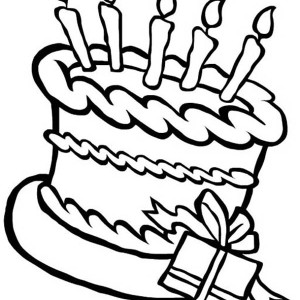 300x300 Happy Birthday Cake And A Present Coloring Page Color Luna