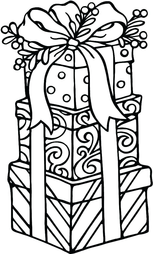 650x1080 Present Coloring Page Present Colouring Page Birthday Present
