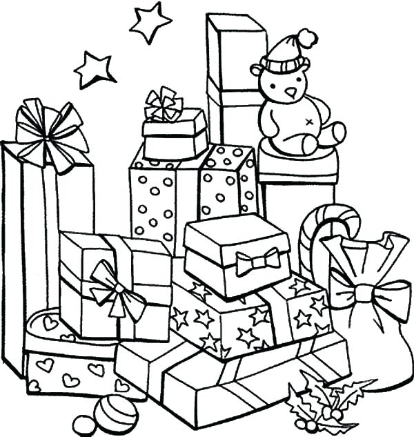600x633 Present Coloring Pages Interesting Present Coloring Pages For Your