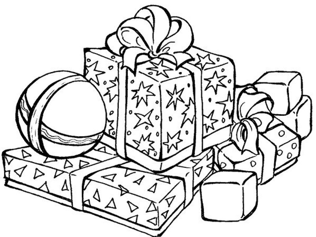 1021x768 Present Coloring Page Presents For Christmas Coloring Pages