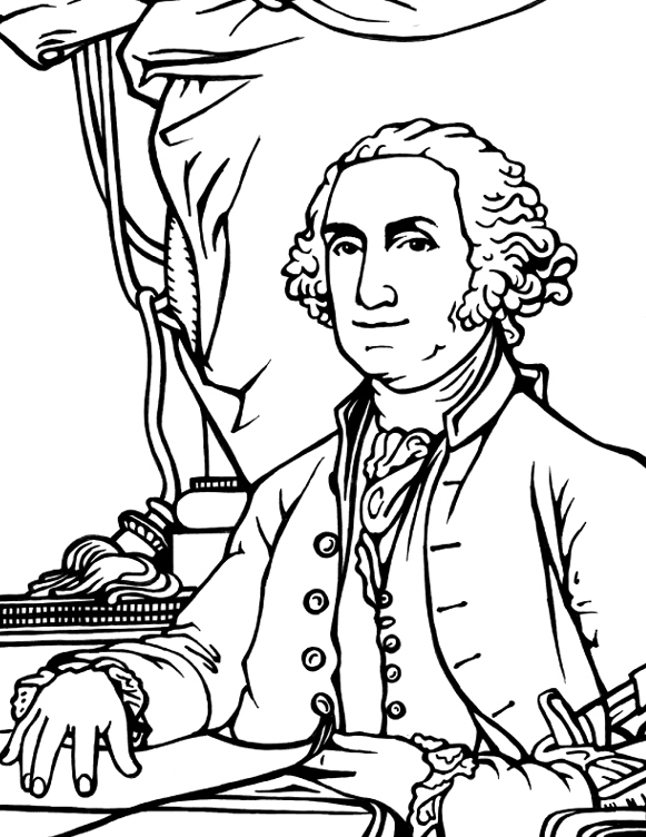 581x752 George Washington Coloring Page
