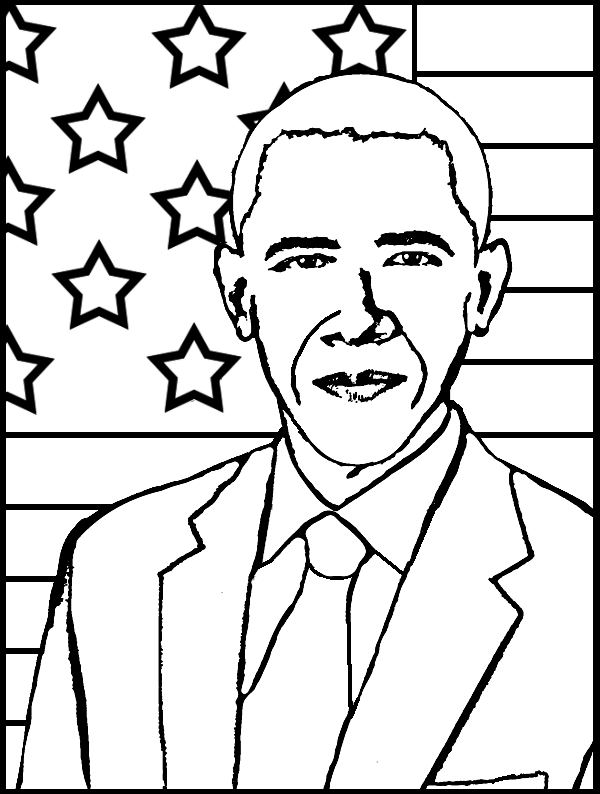 600x794 Barack Obama Coloring Page