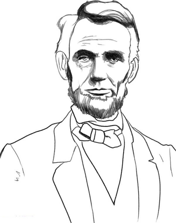 600x760 A Sketch Drawing Of Abraham Lincoln Coloring Page Facebook