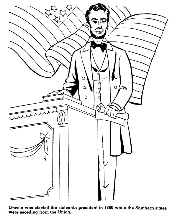 600x734 Abraham Lincoln Coloring Sheet Coloring Pages Printable Abe