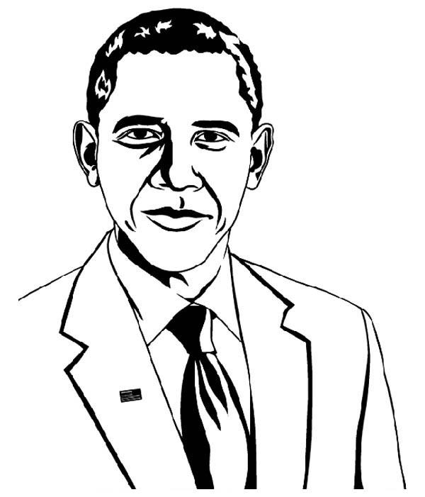 600x701 Barack Obama Coloring Page