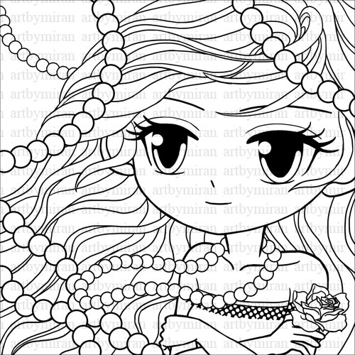500x500 Pretty Girls Coloring Pages Free
