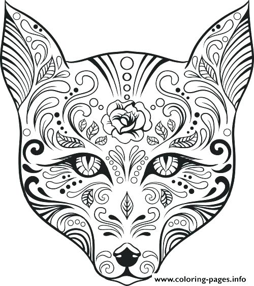 500x562 Sugar Skull Coloring Pages For Adults With Girl Skull Coloring